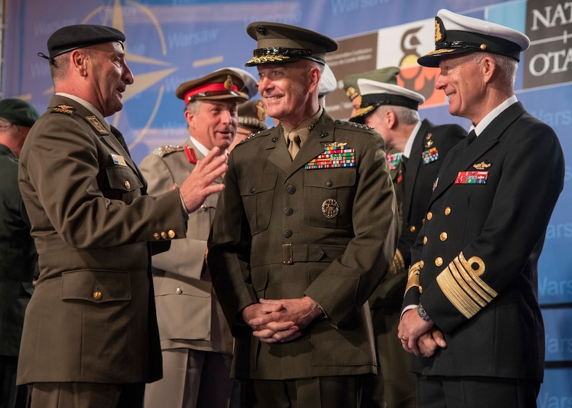 Joint chiefs chairman speaks with some of his counterparts.