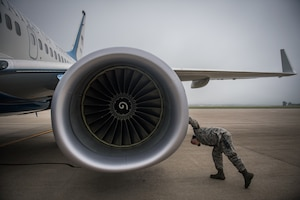Ready for flight, after foggy morning inspection.