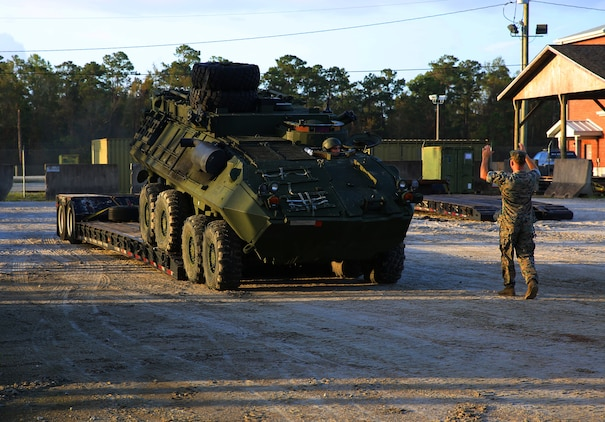 Marines prepare vehicles to embark for Exercise Trident Juncture 18.
