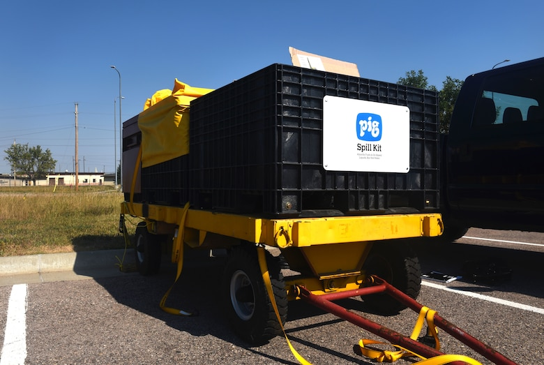 The SpillRaider II trailer is stored outside of the 28th Civil Engineer Squadron headquarters at Ellsworth Air Force Base, S.D., Sept. 17, 2018. The SpillRaider II trailer is equipped with a larger pump than SpillRaider I, and requires a larger air compressor like the ones typically be used by the 28th CES. (U.S. Air Force photo by Airman Christina Bennett)