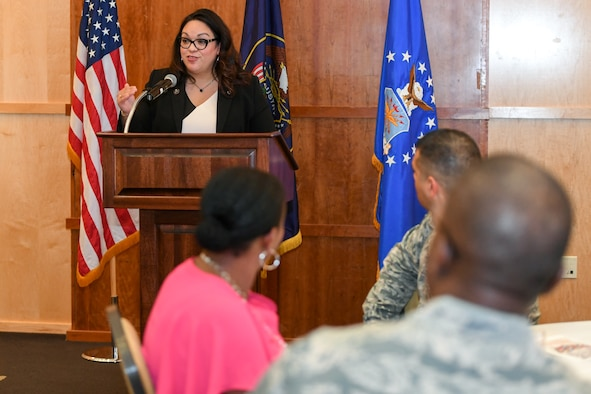 Utah state Sen. Luz Escamilla speaks during the Hispanic Heritage Awareness Luncheon at Hill Air Force Base Sept. 20, 2018. Sen. Escamilla, elected in 2008, represents District 1 and is the senate assistant minority whip. She has also passed legislation while in the senate supporting veterans. (U.S. Air Force photo by Cynthia Griggs)