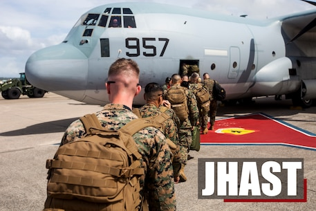 Marines with the Joint Humanitarian Assistance Survey Team, 3rd Marine Expeditionary Brigade, board a KC-130J Hercules aircraft on Kadena Air Force Base, Sept. 27, 2018. The JHAST conducts a fly-away as a part of the final drill for the Alert Contingency Marine Air-Ground Task Force. Marines with the JHAST will deploy to the Philippines to support exercise KAMANDAG 2. (U.S. Marine Corps photo by Lance Cpl. Tanner Lambert)