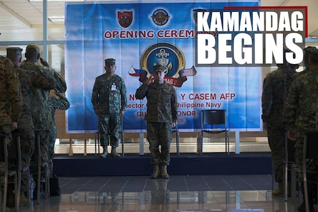 Philippine, Japanese, and U.S. service members prepare for the opening ceremony of KAMANDAG 2 in Subic Bay, Philippines, Oct. 1, 2018. The U.S. is proud to participate in this Philippines-led exercise in order to conduct capabilities development training that enhances our forces' tactics, techniques and procedures across a wide range of military operations. (U.S. Marine Corps photo by Sgt. Mackenzie Carter)