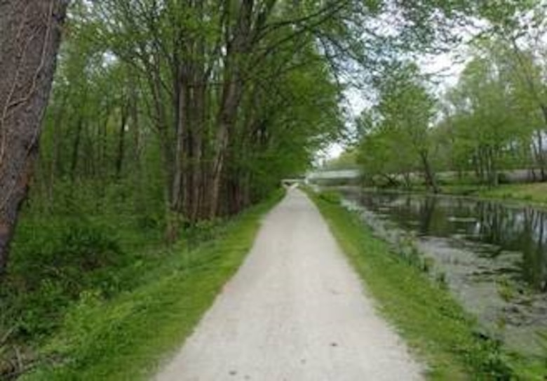Current view of the towpath along side of the Ohio-Erie Canal, Akron, Ohio.