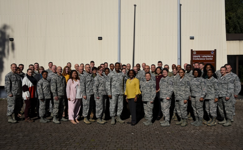 Attendees of the U.S. Air Forces in Europe and U.S. Air Forces Africa Squadron Superintendent and Spouse course pose for a photo outside the USAFE conference center on Ramstein Air Base, Germany, Sept. 25, 2018. Forty-five superintendents and nine spouses, to include two members from joint services as well as a coalition partner, attended the course geared towards superintendents who have been in the position less than a year and those who have been vectored toward the job. (U.S. Air Force photo by Airman D. Blake Browning)