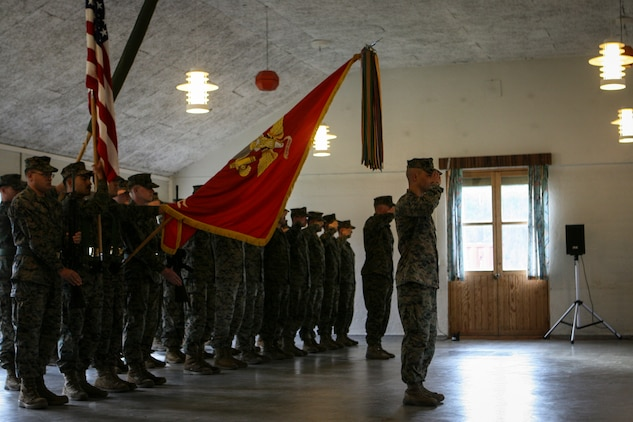 U.S. Marines with Marine Rotational Force- Europe 18.1 stand in formation during the transfer of authority ceremony on Setermoen Leir Military Camp, Norway, Oct. 1, 2018.