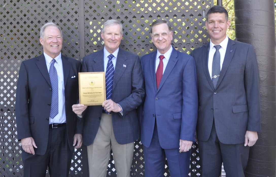 Award accepted by AFCEC from EPA for their efforts at the former McClellan Air Force Base, in Sacramento County, California.