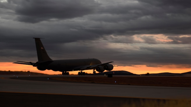 A KC-135 Stratotanker assigned to the 92nd Air Refueling Wing takes off in support of Operation Juniper Micron at Fairchild Air Force Base, Washington, September 2018.