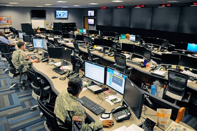 """The Cyber Operations Center at Fort Gordon, Ga., is home to signal and military intelligence noncommissioned officers, who watch for and respond to network attacks from adversaries as varied as nation-states, terrorists and """"hacktivists."""" The center was sanitized of classified information for this photo. (Photo Credit: U.S. Army photo by Michael L. Lewis)"""