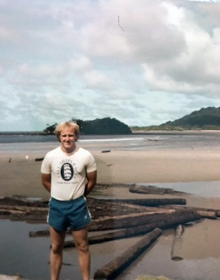 Kevin Foster serving on the isln dof Kosrae.  He served from 1982 to 1985.