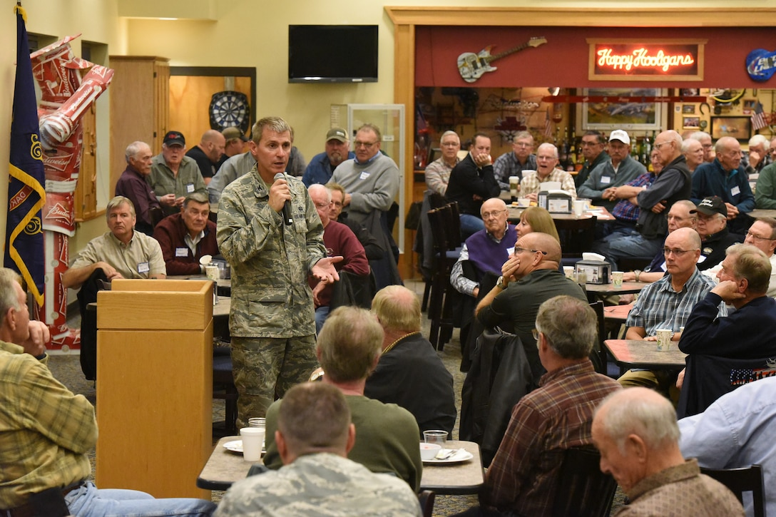 Col. Darrin Anderson, the 119th Wing commander, speaks to a gathering of retired 119th Wing members at the North Dakota Air National Guard Base, Fargo, N.D., Oct. , 2018.
