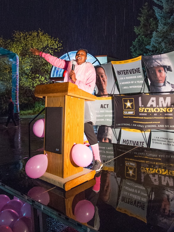 U.S. Army Sgt. Roniesha Folkes, Better Opportunities for Single Service Members program lead, speaks about breast cancer awareness prior to a 5K run at Joint Base Elmendorf-Richardson, Alaska, Sept. 28, 2018. More than 300 Soldiers, Airmen and members of the JBER community rallied together to support Breast Cancer Awareness Month. The National Breast Cancer Awareness Foundation estimates 220,000 U.S. women will be diagnosed with breast cancer each year and over 40,000 will perish. Although breast cancer in men is uncommon, an estimated 2,150 men will be diagnosed with breast cancer and approximately 410 perish each year.