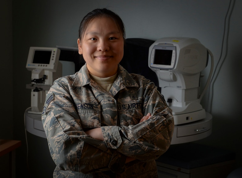 Senior Airman Lin Evenson, 99th Aerospace Medical Squadron ophthalmic technician, poses for a photo in her office on Nellis Air Force Base, Nevada. Evenson joined the Air Force when she was 20 years old. (U.S. Air Force photo by Airman 1st Class Andrew D. Sarver)