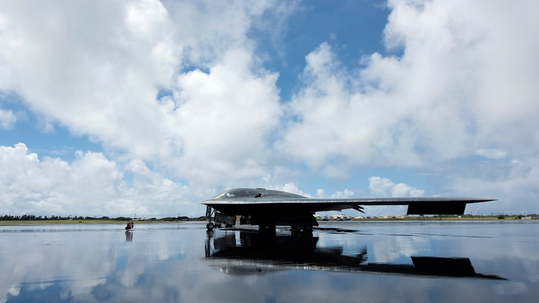 A U.S. Air Force B-2 Spirit deployed from Whiteman Air Force Base, Missouri, to Joint Base Pearl Harbor-Hickam, Hawaii, in support of the U.S. Strategic Command's Bomber Task Force deployment is parked on the flightline Sept. 26, 2018. The B-2 is a multi-role bomber with a wingspan of 172 feet capable of delivering both conventional and nuclear munitions. (U.S. Air Force photo by Staff Sgt. Danielle Quilla)