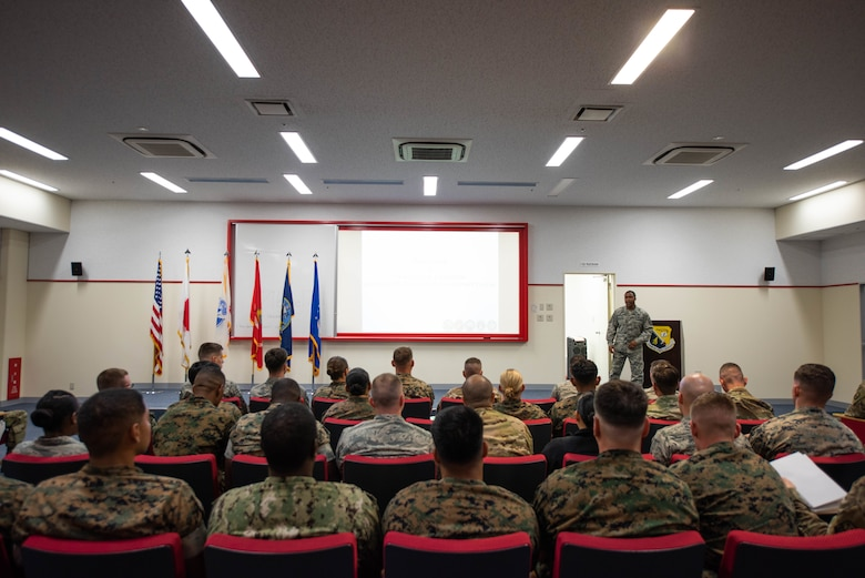 U.S. service members stationed in Okinawa participate in the Okinawa Joint Experience Sept. 25, 2018, at Kadena Air Base, Japan. OJE was a three-day course aimed at improving relationships and familiarizing service members, from different branches of service, with each other. (U.S. Air Force photo by Senior Airman Kristan Campbell)