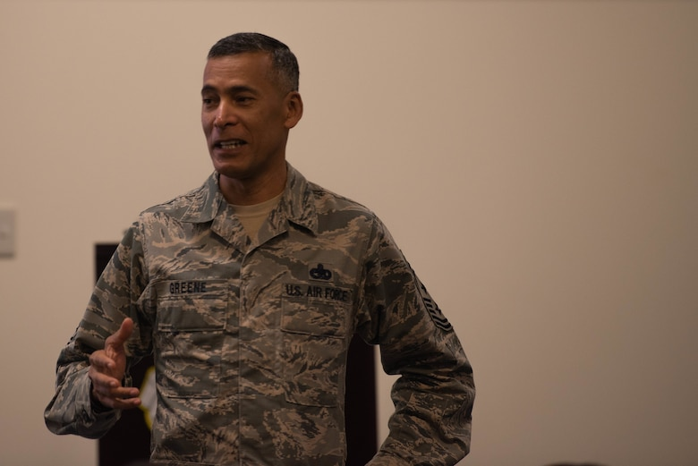 U.S. Chief Master Sgt. Terrance Greene, U.S. Forces Japan command chief, speaks during the Okinawa Joint Experience Sept. 25, 2018, at Kadena Air Base, Japan. OJE was a three-day course aimed at improving relationships and familiarizing service members, from different branches of service, with each other. (U.S. Air Force photo by Senior Airman Kristan Campbell)