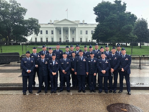 Members of the 48th Flying Training Squadron gather in front of the White House Sept. 25, 2018, in Washington D.C. The visit was part of a squadron's TDY that allowed 24 Alley Cats to see how their daily jobs fit into the greater Air Force mission. (Courtesy photo)