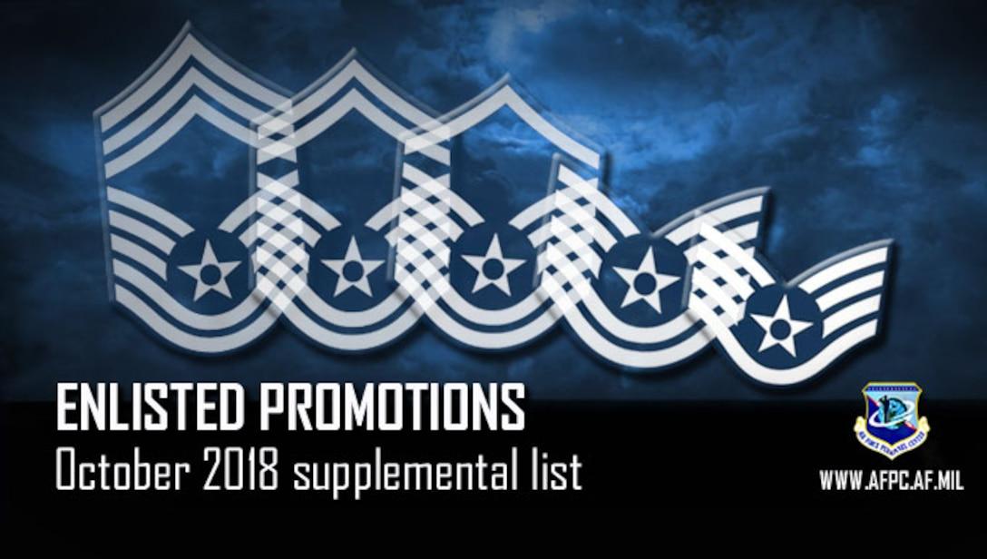 Enlisted promotions; October 2018 supplemental list