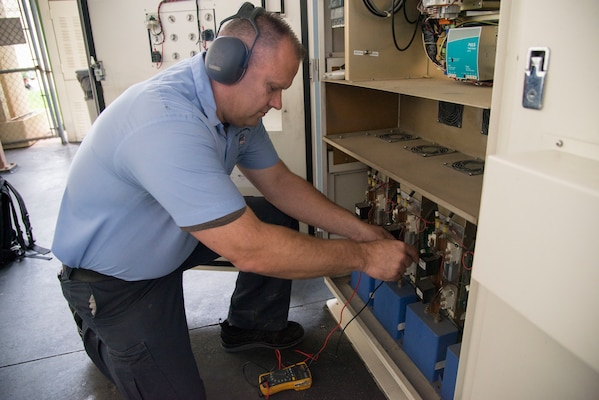 Gary Harris, 12th Flying Training Wing aerospace ground equipment mechanic, checks equipment voltage during routine maintenance Aug. 28, 2018, at Joint Base San Antonio-Randolph, Texas. Harris is part of a team that inspects, tests and maintains ground equipment that supports aircraft maintenance and flying training operations.