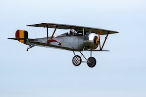 DAYTON, Ohio -- World War I replica aircraft took to the skies during during the eleventh WWI Dawn Patrol Rendezvous at the National Museum of the U.S. Air Force on Sept. 22-23, 2018. This is a Nieuport 23 owned and flown by Tom Martin from Lebanon Ohio. (U.S. Air Force photo by Ken LaRock)