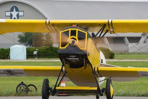 DAYTON, Ohio -- World War I replica aircraft took to the skies during during the eleventh WWI Dawn Patrol Rendezvous at the National Museum of the U.S. Air Force on Sept. 22-23, 2018. This aircraft is a Fokker DVII replica owned and flown by Darrell Porter from Harrisonville, Missouri. (U.S. Air Force photo by Ken LaRock)