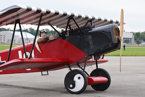 DAYTON, Ohio -- World War I replica aircraft took to the skies during during the eleventh WWI Dawn Patrol Rendezvous at the National Museum of the U.S. Air Force on Sept. 22-23, 2018. This aircraft is a Fokker DVII replica owned and flown by Mark Hymer from Owasso, Oklahoma. (U.S. Air Force photo by Ken LaRock)