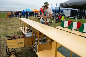 DAYTON, Ohio -- Visitors viewing model aircraft during the eleventh WWI Dawn Patrol Rendezvous at the National Museum of the U.S. Air Force on Sept. 22-23, 2018. (U.S. Air Force photo by Ken LaRock)