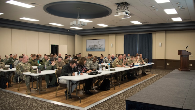 Air Mobility Command and Team Fairchild host representatives from several partner nations at the Mobility Guardian 2019 International Planning Conference held at Fairchild Air Force Base, Washington, Sept. 18, 2018. Mobility Guardian is the premiere AMC exercise designed to put U.S. and allied forces through the most realistic scenarios possible to prepare them to work together in situations ranging from humanitarian assistance to operating in contested environments. (U.S. Air Force photo/Senior Airman Ryan Lackey)