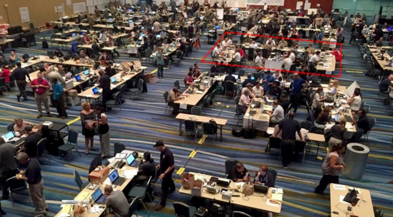 The Joint Field Office, San Juan Convention Center, Sept. 27, 2017. The Albuquerque District's Temporary Emergency Power Planning & Response Team worked in the area designated by the red box.