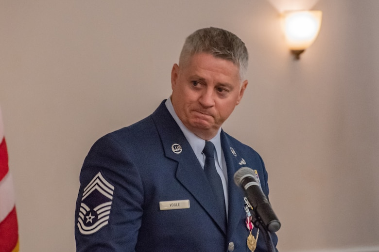 Retired Chief Master Sgt. Steve Vogle gives his final remarks during his retirement ceremony at Barksdale Air Force base, La, Sept. 8, 2018. Vogle retired as superintendent of the 307th Aircraft Maintenance Squadron. (U.S. Air Force photo by Tech. Sgt. Cody Burt/Released)