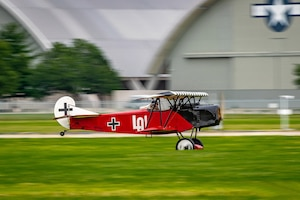 DAYTON, Ohio -- World War I replica aircraft took to the skies during during the eleventh WWI Dawn Patrol Rendezvous at the National Museum of the U.S. Air Force on Sept. 22-23, 2018. This aircraft is a Fokker DVII replica owned and flown by Mark Hymer from Owasso Oklahoma. (Courtesy photo by Courtney Caillouet)