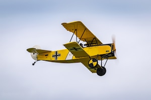 DAYTON, Ohio -- World War I replica aircraft took to the skies during during the eleventh WWI Dawn Patrol Rendezvous at the National Museum of the U.S. Air Force on Sept. 22-23, 2018. This is a Fokker DVII owned and flown by Darrell Porter from Harrisonville Missouri. (Courtesy photo by Courtney Caillouet)