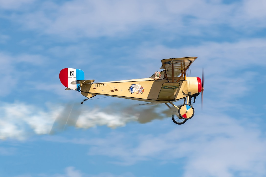 DAYTON, Ohio -- World War I replica aircraft took to the skies during during the eleventh WWI Dawn Patrol Rendezvous at the National Museum of the U.S. Air Force on Sept. 22-23, 2018. This aircraft is a Nieuport C-1 replica owned and flown by Glen Fike of Beavercreek Ohio. (Courtesy photo by Courtney Caillouet)