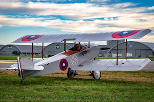 DAYTON, Ohio -- World War I replica aircraft took to the skies during during the eleventh WWI Dawn Patrol Rendezvous at the National Museum of the U.S. Air Force on Sept. 22-23, 2018. This aircraft is a Sopwith Schneider replica owned and flown by Blake Thomas. (Courtesy photo by Courtney Caillouet)