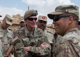 Army Gen. Joseph Votel, U.S. Central Command commander, and Egyptian senior leaders visit the Bright Star 2018 logistics staging area.