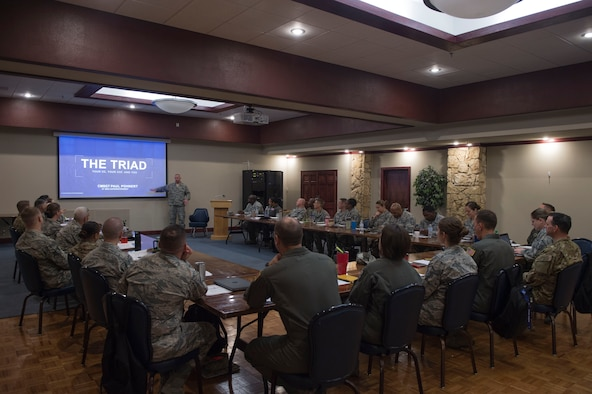 U.S. Air Force Chief Master Sgt. Paul Pohnert, 97th Mission Support Group superintendent, talks about his experience of being a superintendent, during the Squadron Superintendents Course.