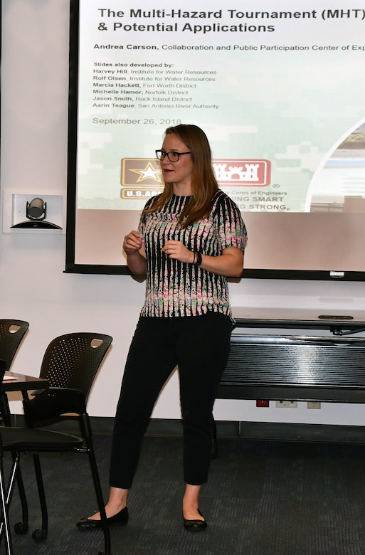 Andrea Carson from the USACE Institute for Water Resources Collaboration and Public Participation Center of Expertise, explains how to play a gaming event called a Multi-Hazard Tournament on Sept. 26, 2018, in Sacramento