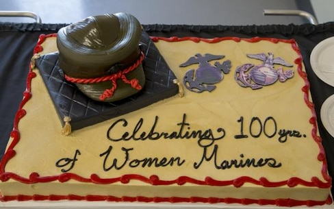 This cake was distributed to attendees following the ceremony celebrating 100th year anniversary of female Marines.