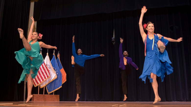 Performers from the Latin Ballet of Virginia dance during the National Hispanic Heritage Month ceremony at Joint Base Langley-Eustis, Virginia, Oct. 4, 2018.
