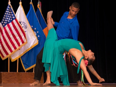 Members of the Latin Ballet of Virginia perform during the National Hispanic Heritage Month ceremony at Joint Base Langley-Eustis, Virginia, Oct. 4, 2018.