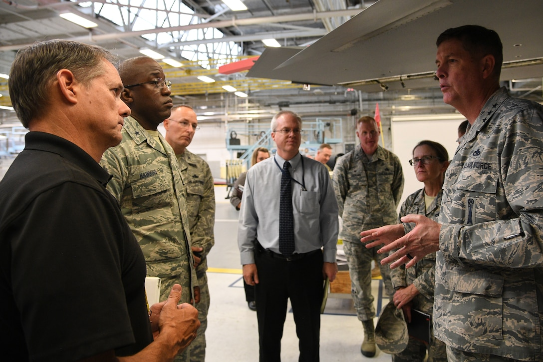 AAir Force Sustainment Center Commander Lt. Gen. Gene Kirkland (right) addresses installation leadership during the general's site tour Oct. 2, 2018, at Hill Air Force Base, Utah, . (U.S. Air Force photo by R. Nial Bradshaw)