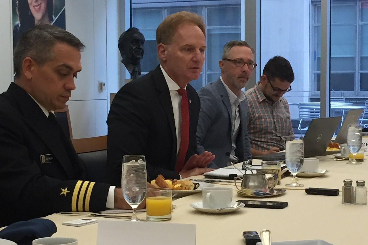 Navy Undersecretary Thomas B. Modly speaks to the Defense Writers Group in Washington about developing capabilities with the island nations of Oceania.