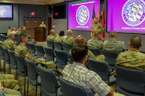 Maj. Gen. Bill Hall, commander, Joint Task Force Civil Support, addresses members of Joint Task Force Civil Support during the command's 19th birthday today at its headquarters at Fort Eustis, Va. Founded October 1st, 1999, JTF-CS is the nation's only standing chemical, biological, radiological and nuclear (CBRN) joint task force. When directed, JTF-CS is ready to respond within 24 hours to provide command and control of 5,200 federal military forces located at more than 36 locations throughout the nation acting in support of civil authority response operations to save lives, prevent further injury and provide critical support to enable community recovery. (Official DoD photo by Mass Communication Specialist 3rd Class Michael Redd/released)