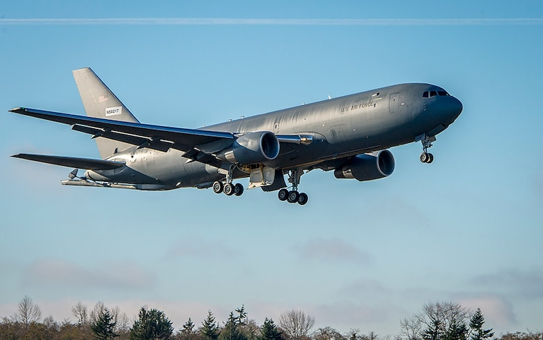 A Boeing KC-46A Pegasus takes flight. Equipped with a modernized KC-10 refueling boom and wing aerial refueling pods, the KC-46A can refuel multiple types of receiver aircraft, as well as foreign national aircraft on the same mission. (Courtesy photo/Boeing)
