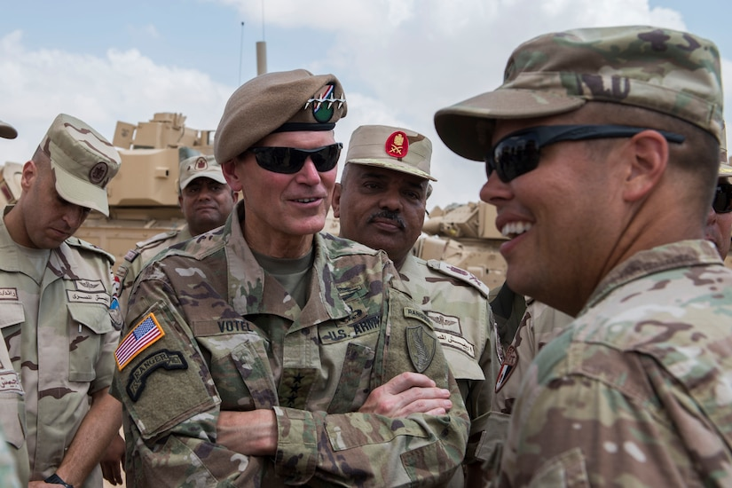 Gen. Joseph Votel,  the commander of U.S. Central Command, visits the Bright Star 2018 Logistics Staging Area
