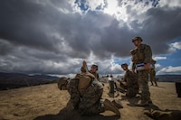 U.S. Marines with Weapons Platoon, A Company, Infantry Training Battalion, School of Infantry-West, prepare to fire a 60mm mortar round during the Basic Mortarman Course at Range Mortar Position 6, Marine Corps Base Camp Pendleton, California, Oct. 4, 2018.