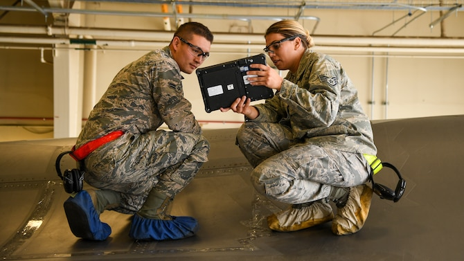 388th Fighter Wing F-35A maintainers use new tablets to connect with jet.