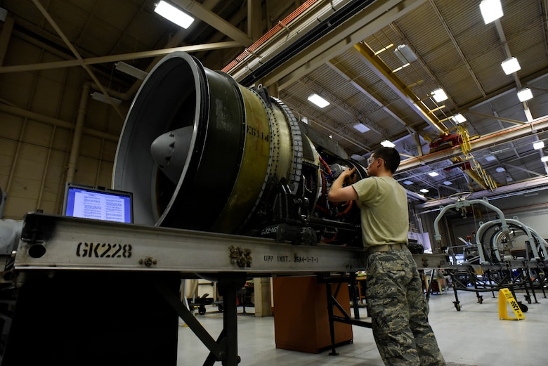 Sheppard Air Force Base Airman works on an engine