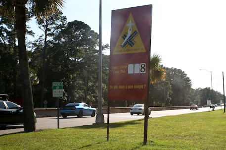 One of the last things that Marines and Sailors see before driving off base is a sign that counts the last days since a DUI occured aboard Marine Corps Air Station Beaufort.