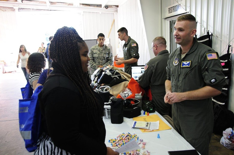 Flight nurses and medical technicians of the 459th Aeromedical Evacuation Squadron talk to students about their careers at the 14th Annual Northern Virginia Transportation Career Fair for High School Students in Manassas, Va. The career fair is part of a Federal Highway Administration initiative to promote the transportation industry and the careers it offers to America's youth.